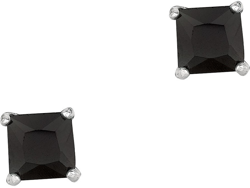 "Silver Rhodium Plated Shiny 5.0mm (1/5"") Black Square Cubic Zirconia (CZ) Stud Post Back Earrings"