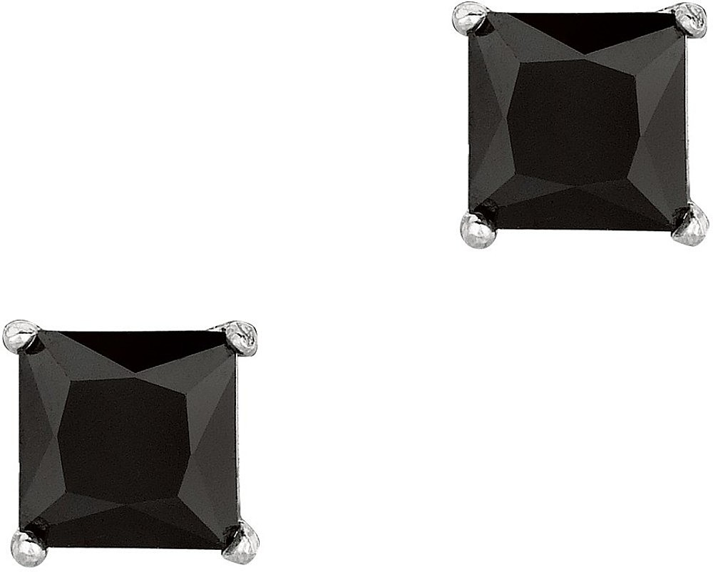 "Silver Rhodium Plated Shiny 6.0mm (1/4"") Black Square Cubic Zirconia (CZ) Stud Post Back Earrings"