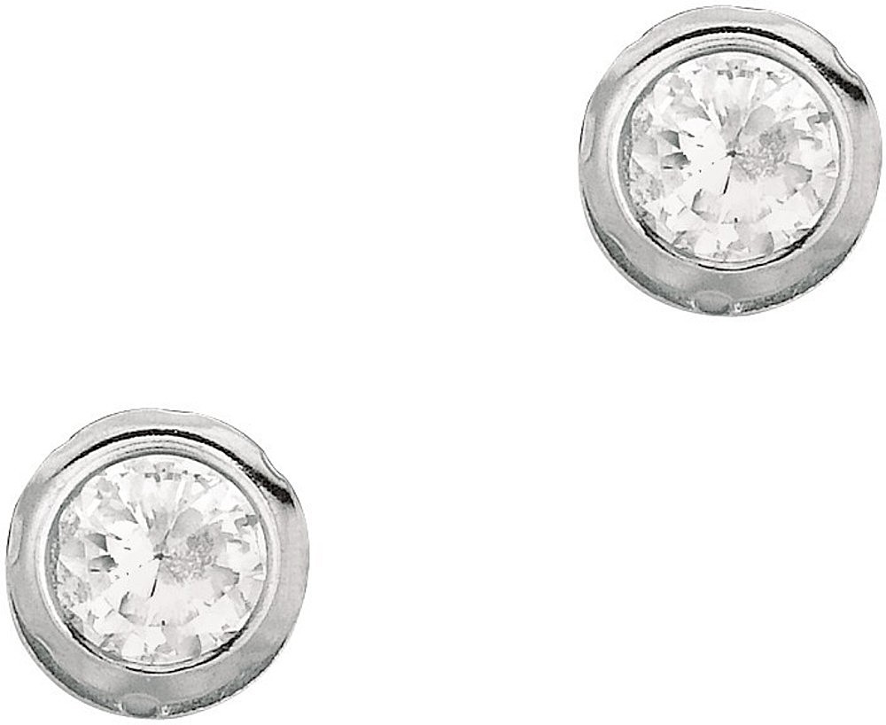 "Silver Rhodium Plated Shiny 4.0mm (1/6"") Clear Round Faceted Cubic Zirconia (CZ) Stud Earrings"