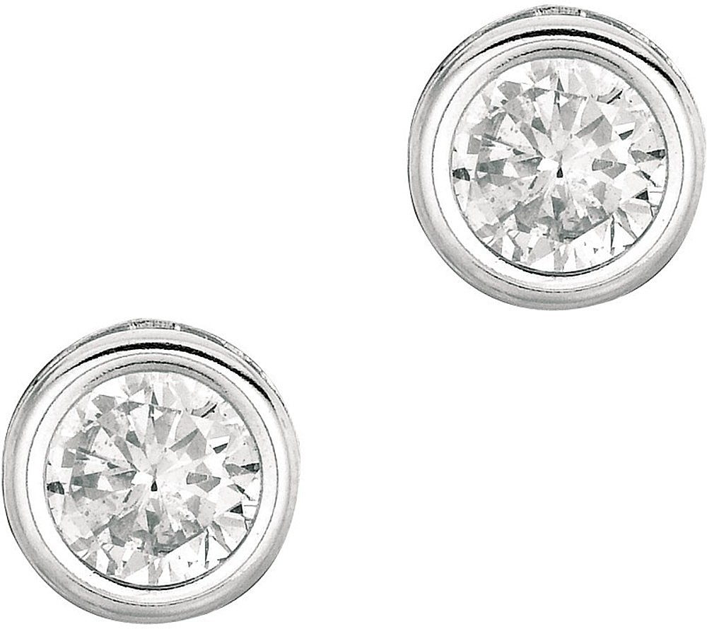 "Silver Rhodium Plated Shiny 6.0mm (1/4"") Clear Round Faceted Cubic Zirconia (CZ) Stud Earrings"