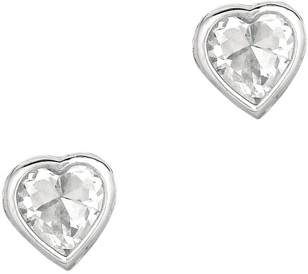 "Silver Rhodium Plated Shiny 4.0mm (1/6"") Clear Heart Cubic Zirconia (CZ) Stud Earrings"