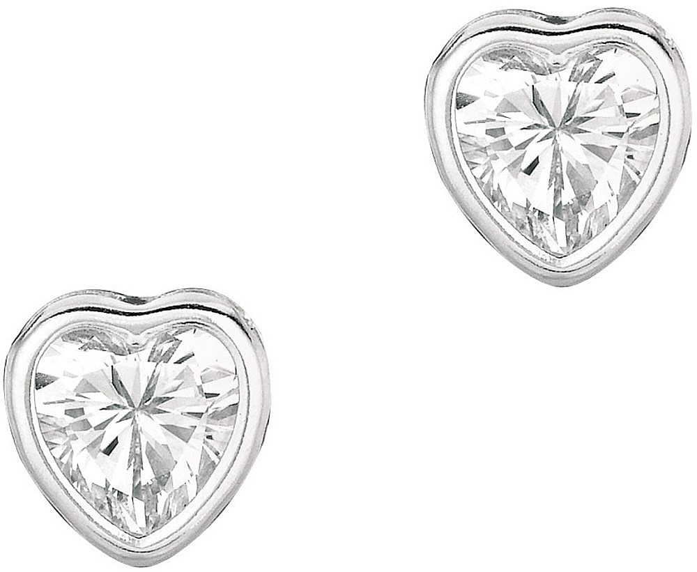 "Silver Rhodium Plated Shiny 6.0mm (1/4"") Clear Heart Cubic Zirconia (CZ) Stud Earrings"
