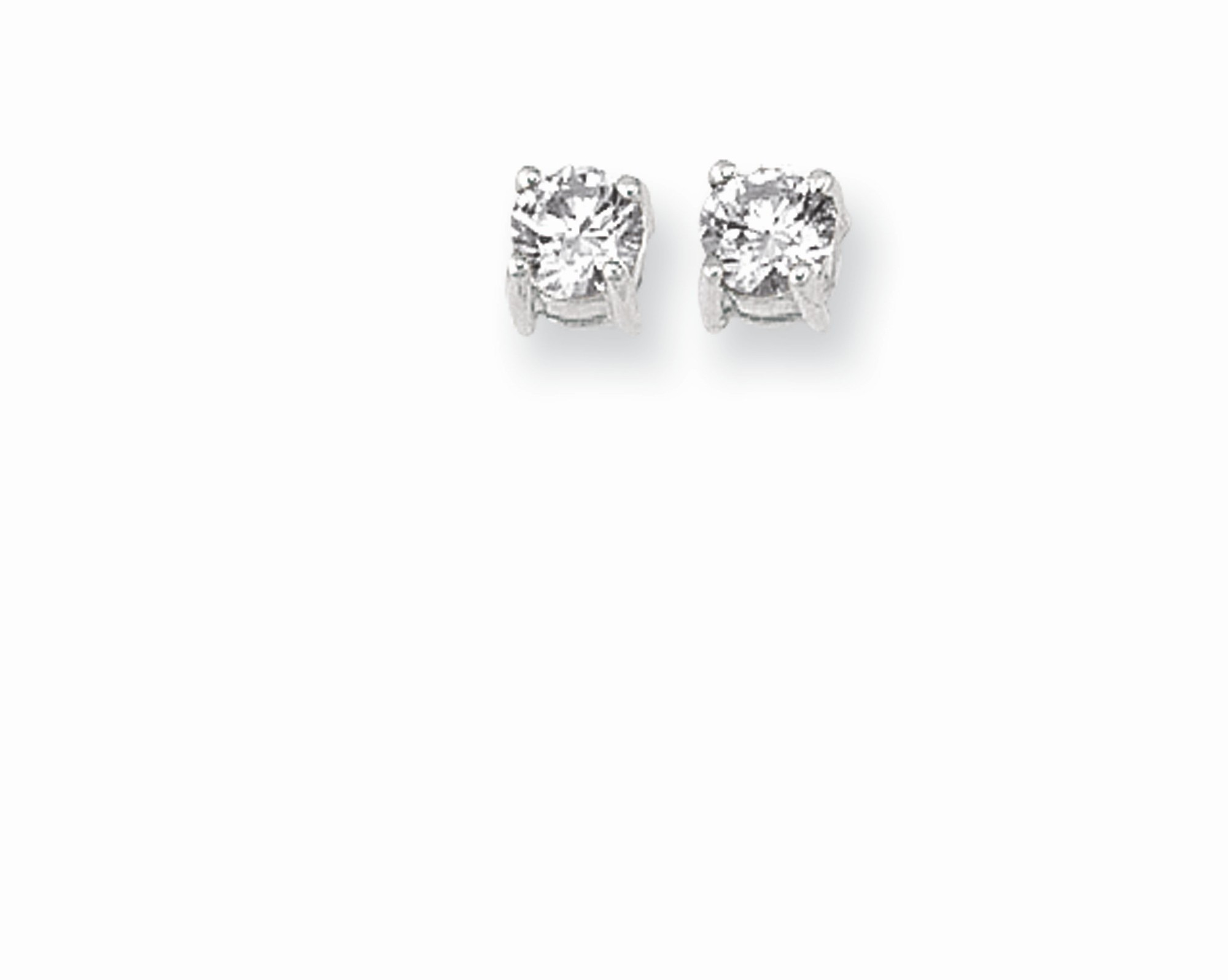 "Silver Rhodium Plated Shiny 3.0mm (1/8"") Clear Round Faceted Cubic Zirconia (CZ) Stud Earrings"