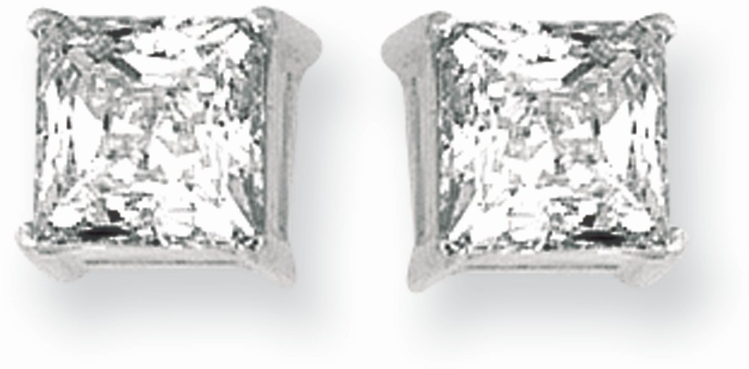 "Silver Rhodium Plated Shiny 6.0mm (1/4"") Square Clear Cubic Zirconia Stud Post Back Earrings"