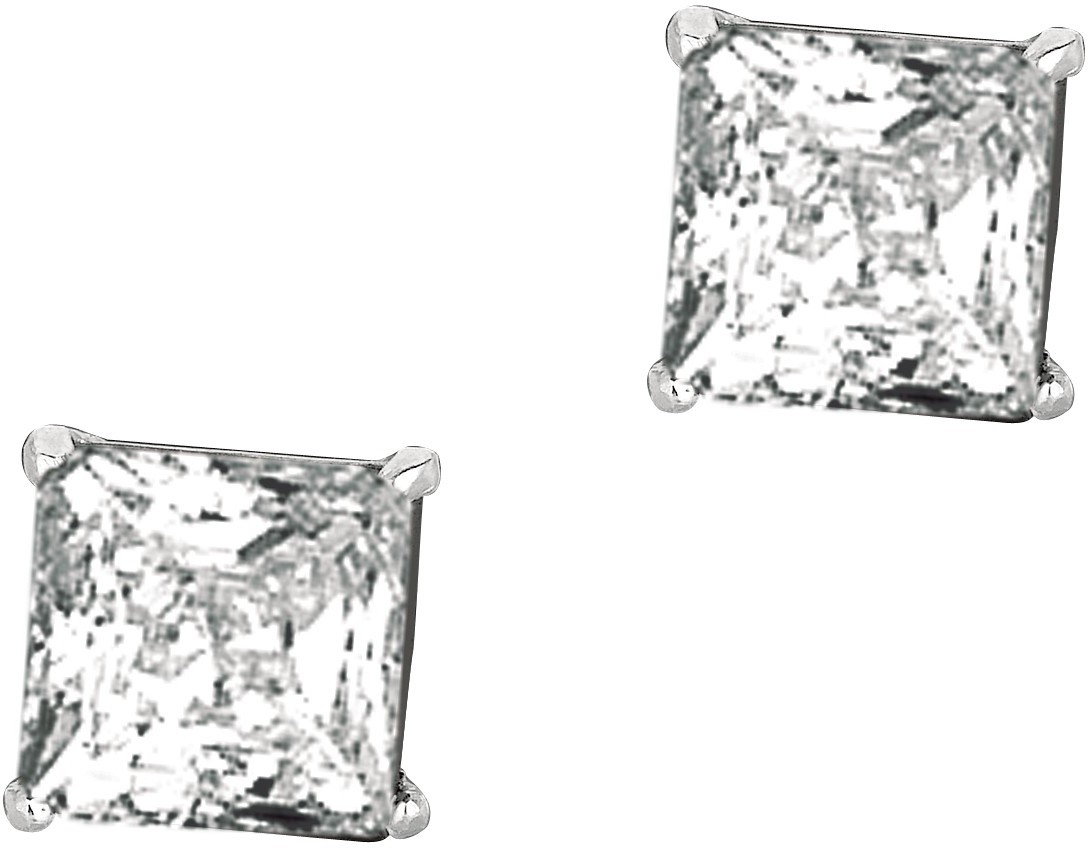 "Silver Rhodium Plated Shiny 8.0mm (1/3"") Square Clear Cubic Zirconia (CZ) Stud Post Back Earrings"