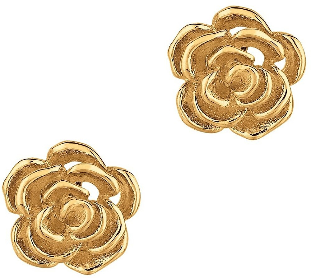 Silver Gold Plated Shiny Flower Post Earrings
