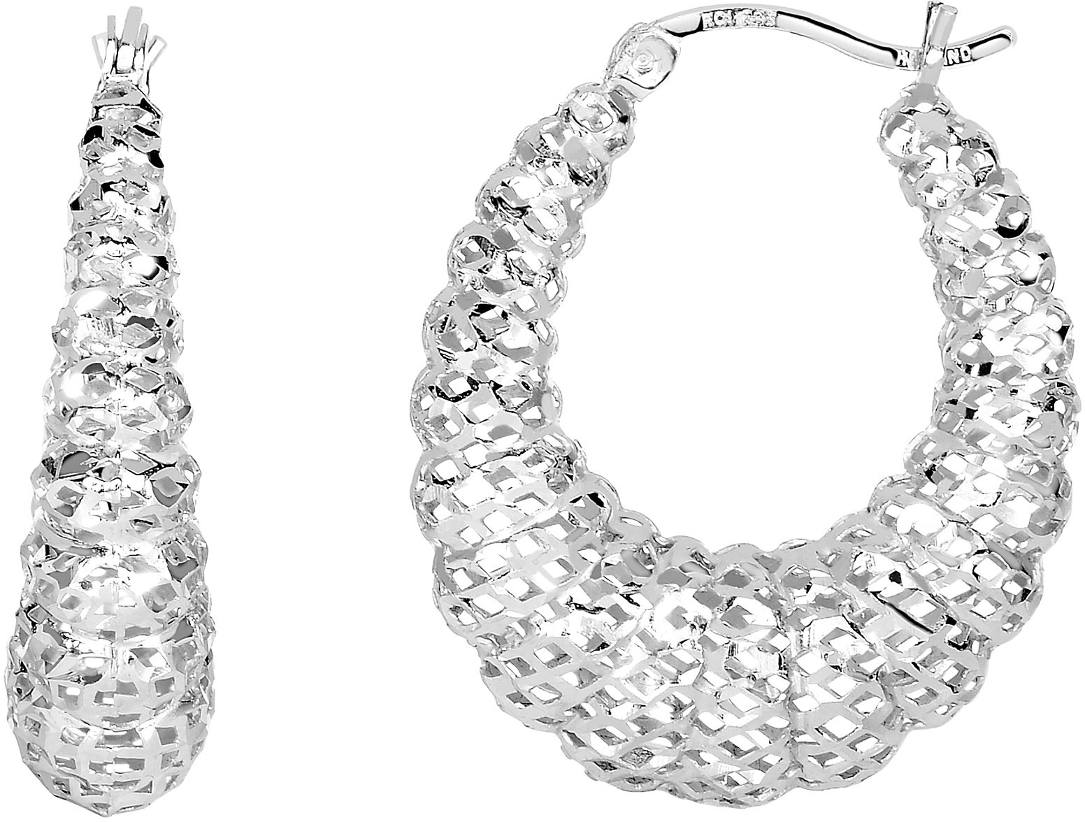 Silver Rhodium Plated Stampato Mesh Hoop Earrings (BTAGE1796) - DISCONTINUED