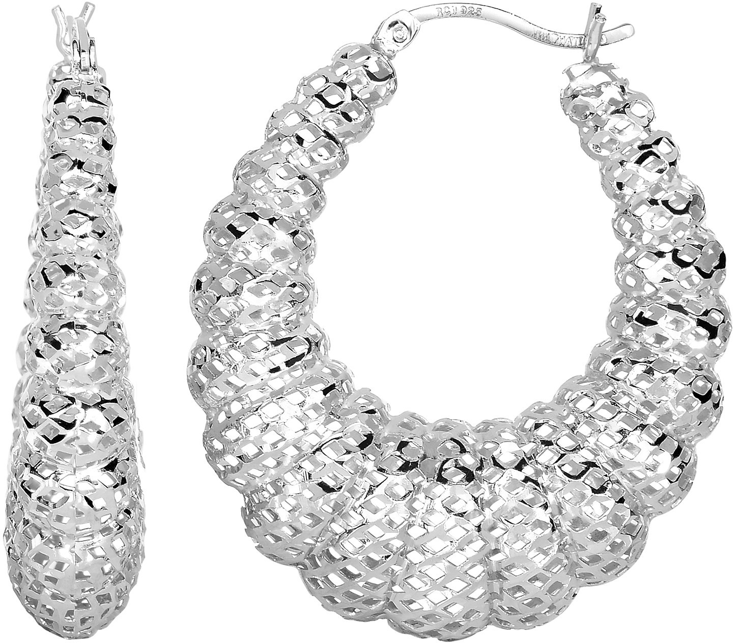 Silver Rhodium Plated Stampato Mesh Hoop Earrings (BTAGE1797) - DISCONTINUED