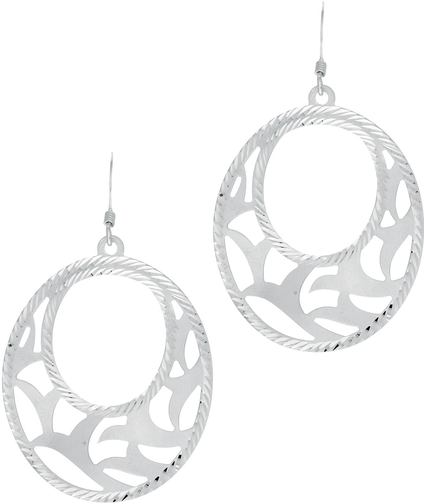 Silver Rhodium Plated Soldered Laser Earrings (BTAGE1900)