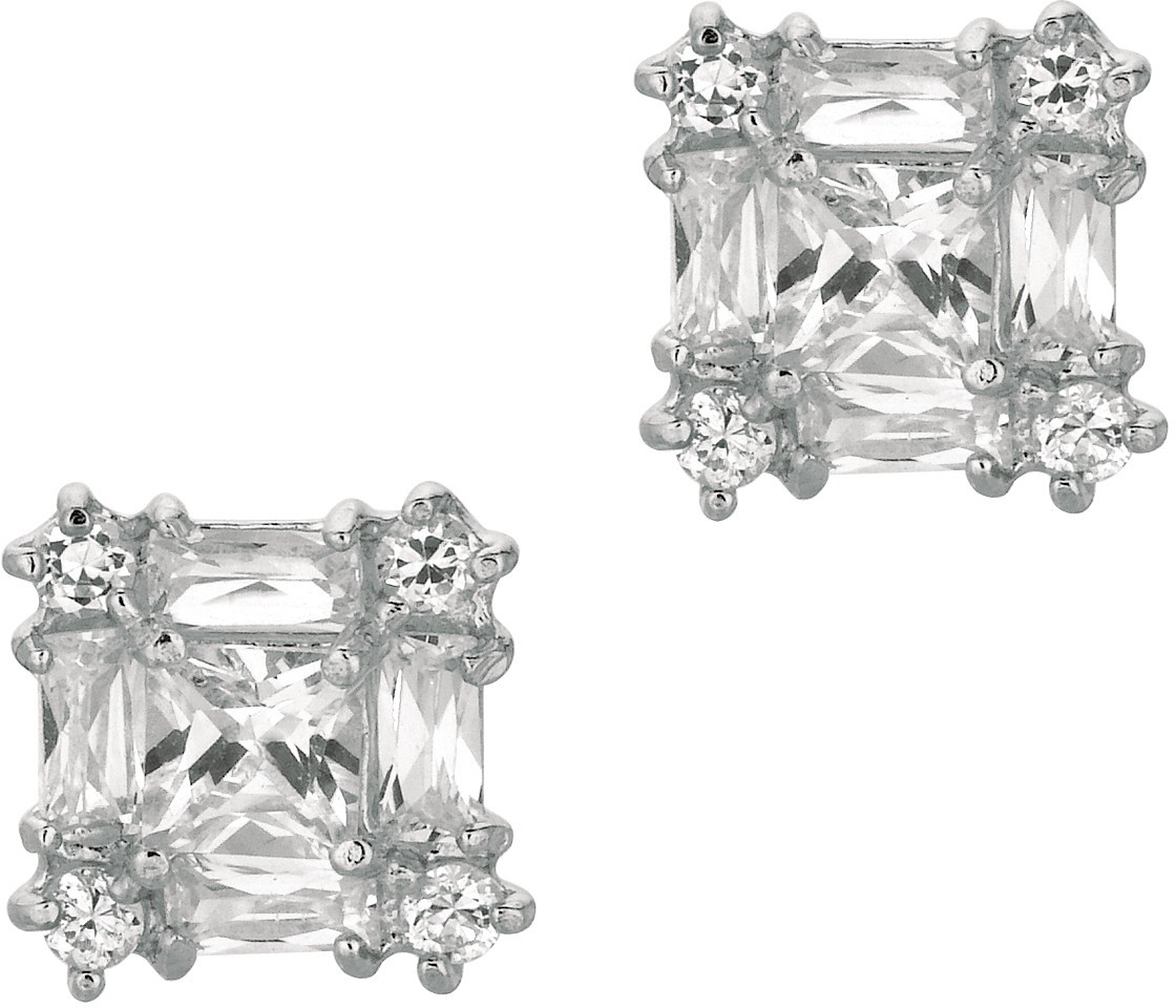 "Silver Rhodium Plated Shiny 9.0mm (1/3"") Square Clear Cubic Zirconia (CZ) Post Earrings (BTAGE444) - DISCONTINUED"