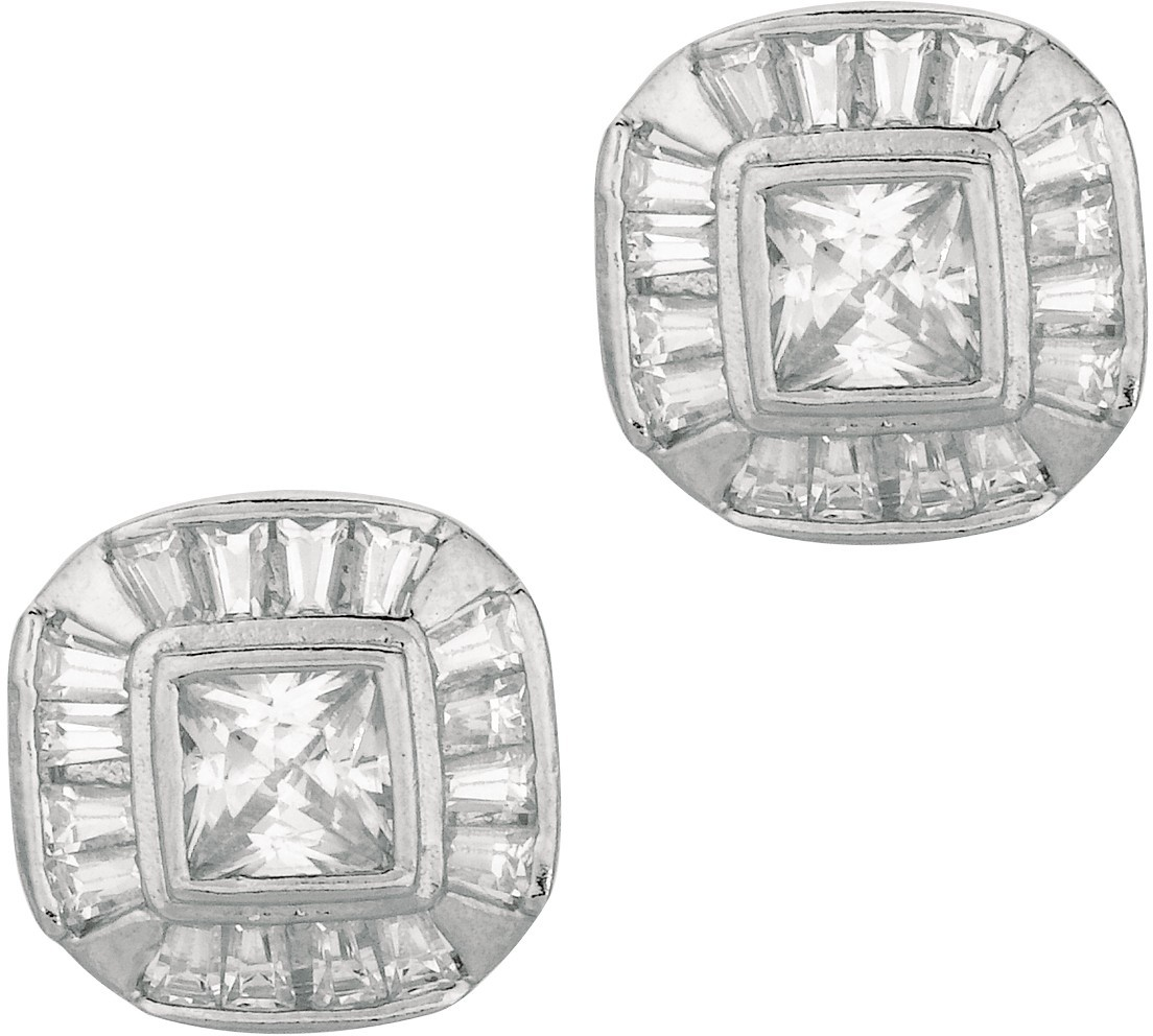 "Silver Rhodium Plated Shiny 10.0mm (3/8"") Round Faceted Square Clear Cubic Zirconia (CZ) Post Earrings"