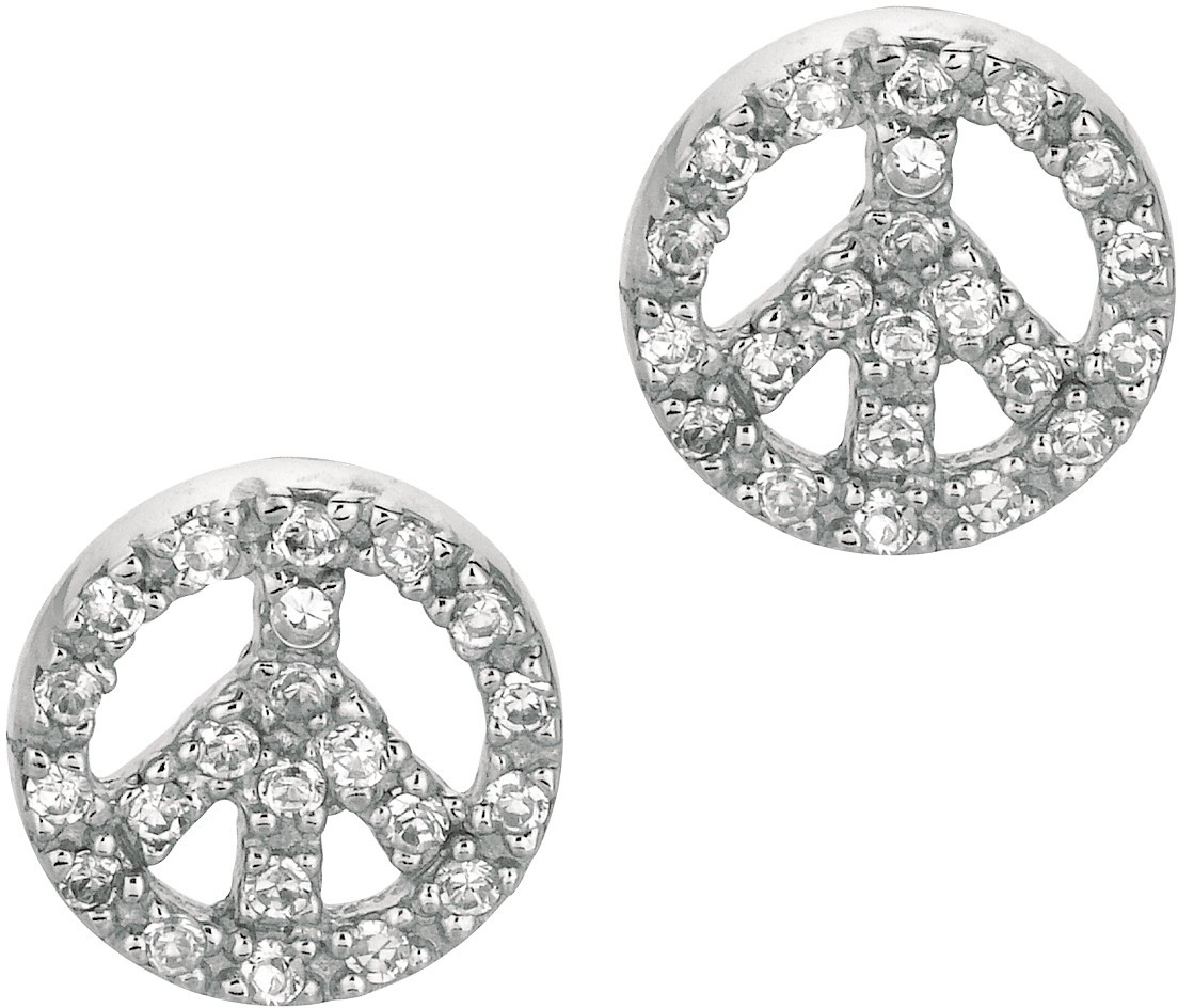 "Silver Rhodium Plated Shiny 10mm (3/8"") Peace Sign Clear Cubic Zirconia (CZ) Post Earrings"