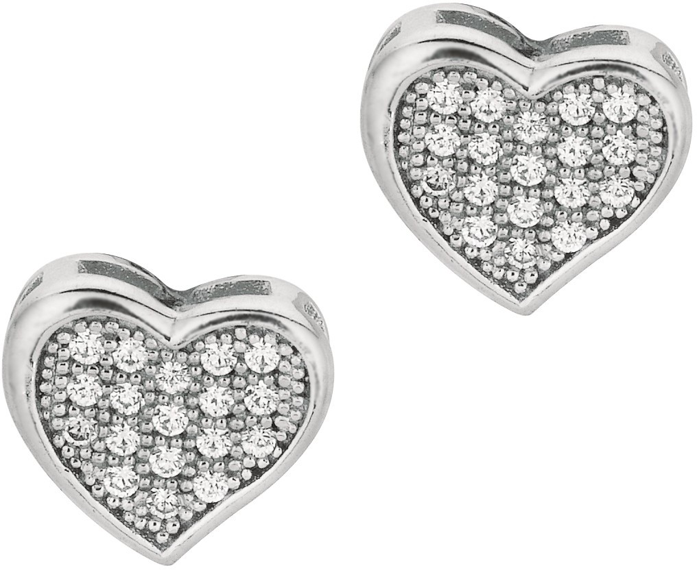"Silver Rhodium Plated Shiny 10.0mm (3/8"") Fancy Heart CZ Stud Earrings"