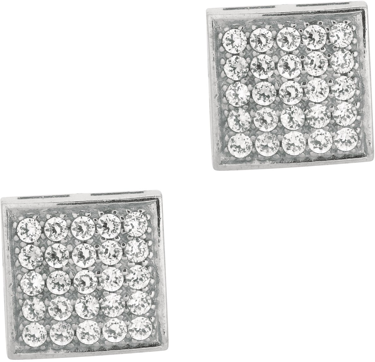 "Silver Rhodium Plated Shiny 11.0mm (7/16"") Square Clear Cubic Zirconia (CZ) Post Earrings"