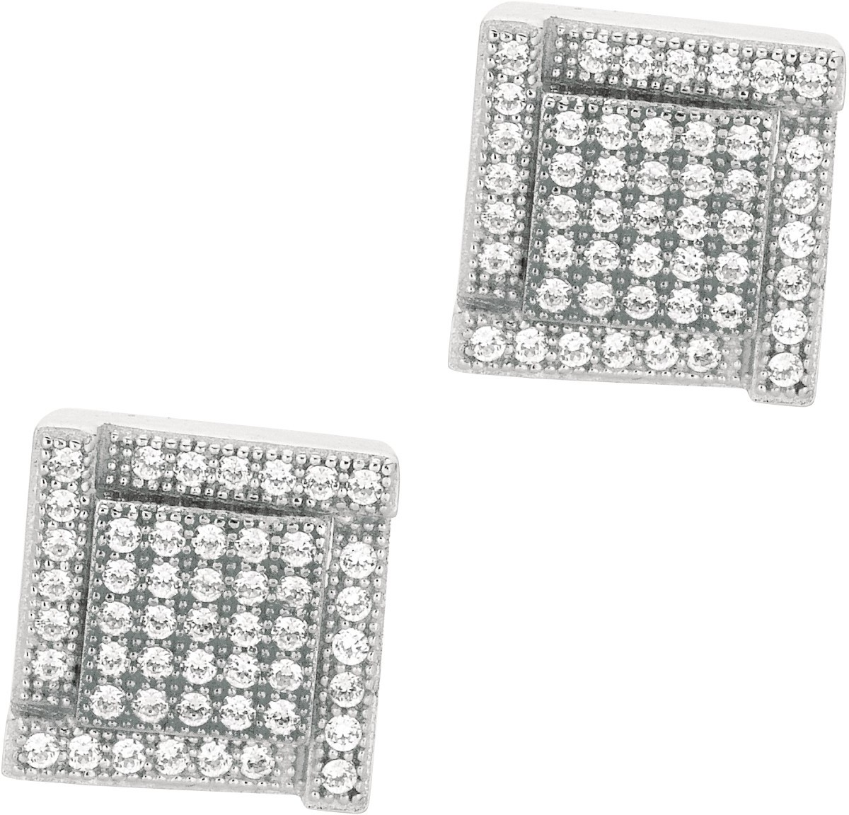 "Silver Rhodium Plated Shiny 10.0mm (3/8"") Square Clear Cubic Zirconia (CZ) Post Earrings (BTAGE465)"