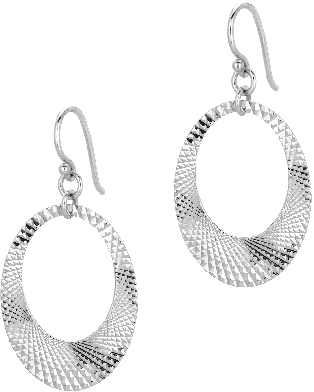 Silver Rhodium Plated Textured Shiny Open Oval In Oval Type Drop Earrings