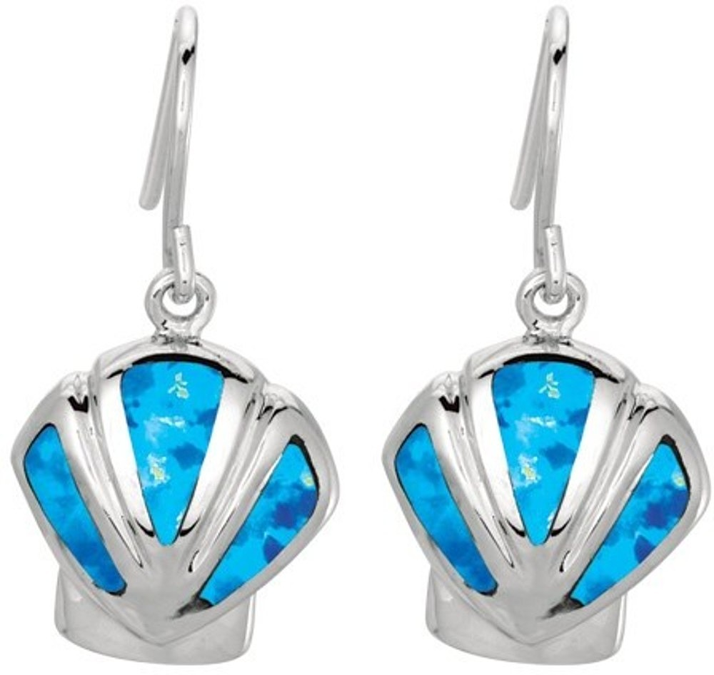 Silver Rhodium Plated Shiny Created Opal Sea Shell Drop Earrings