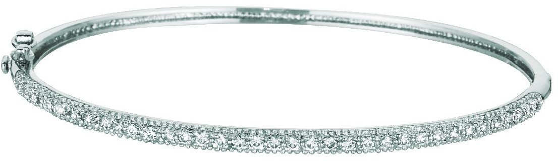 "7.5"" 925 Sterling Silver Rhodium Plated Shiny 2.4mm (0.09"") Bangle Bracelet & Clasp w/ White Cubic Zirconia (CZ)"