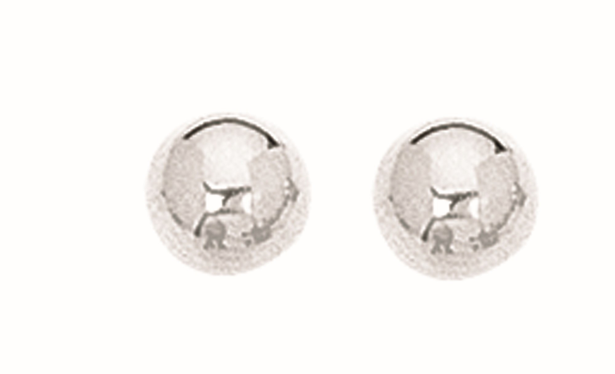"Silver Rhodium Plated 6.0mm (1/4"") Textured Shiny Stud Earrings"
