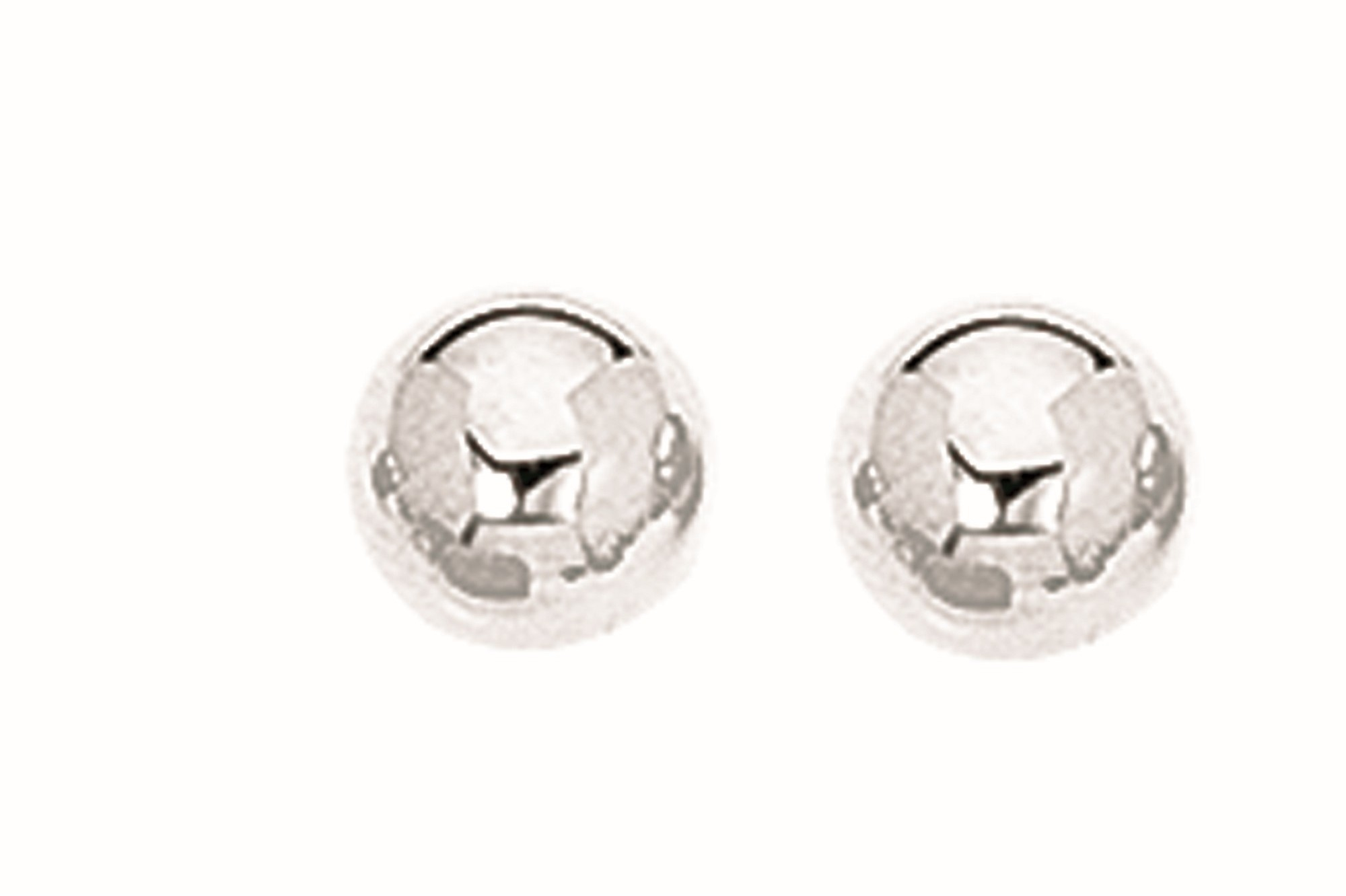"Silver Rhodium Plated 7.0mm (2/7"") Textured Shiny Stud Earrings"