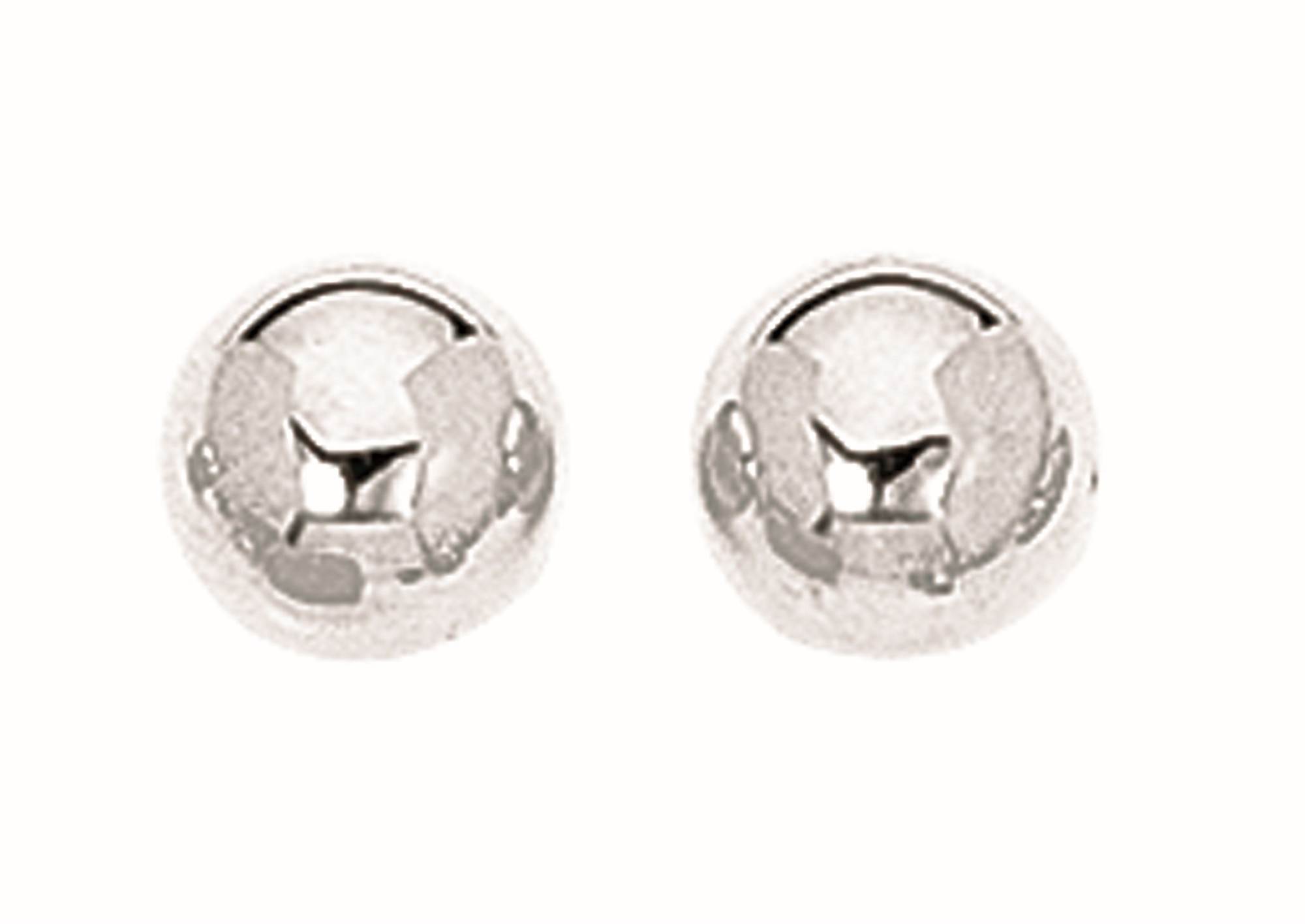 "Silver Rhodium Plated 8.0mm (1/3"") Textured Shiny Stud Earrings"