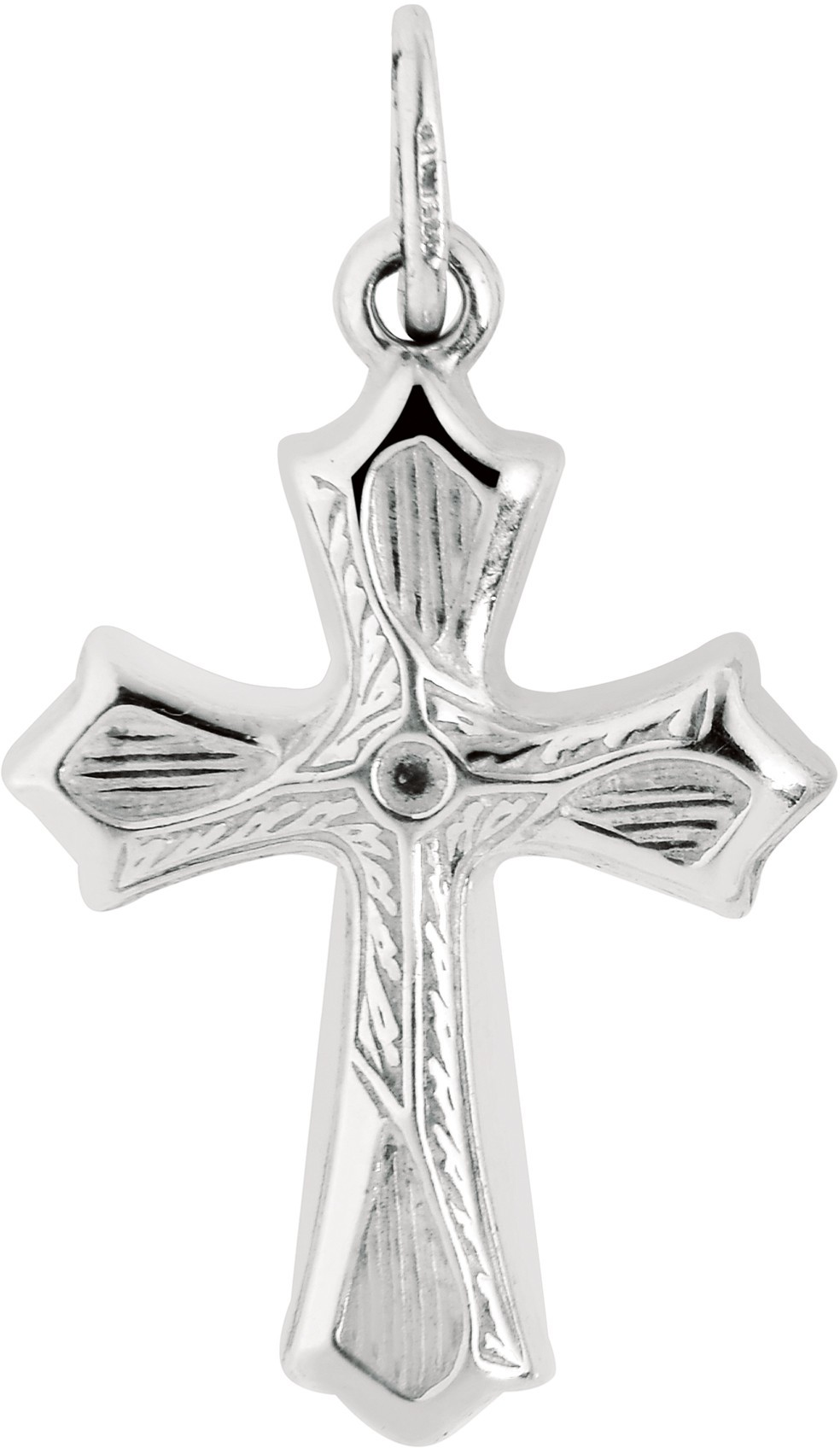 "Silver Rhodium Plated 18x28mm (0.71""x1.1"") Shiny Textured Fancy Cross Pendant - DISCONTINUED"