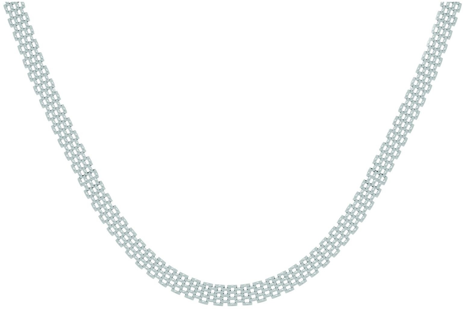 "17"" 10mm (3/8"") Panther Link Necklace Rhodium Plated 925 Sterling Silver"