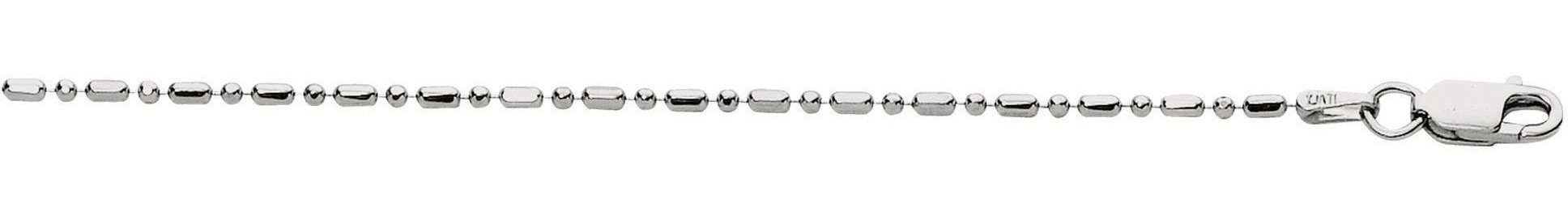 "24"" 1.5mm (0.06"") Rhodium Plated Polished Diamond Cut 925 Sterling Silver Bead & Tube Chain w/ Lobster Clasp"