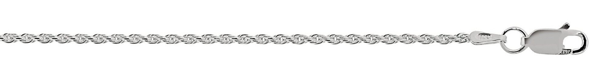 "16"" 1.4mm (0.06"") Textured Diamond Cut 925 Sterling Silver Rope Chain w/ Lobster Clasp"
