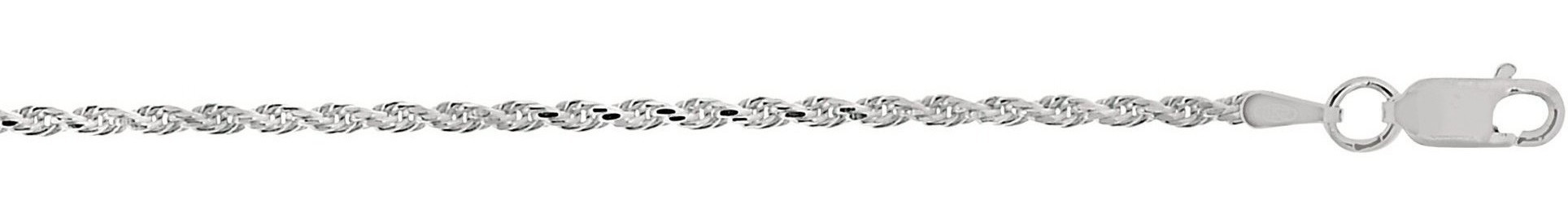 "18"" 1.8mm (0.07"") Textured Diamond Cut 925 Sterling Silver Rope Chain w/ Lobster Clasp"