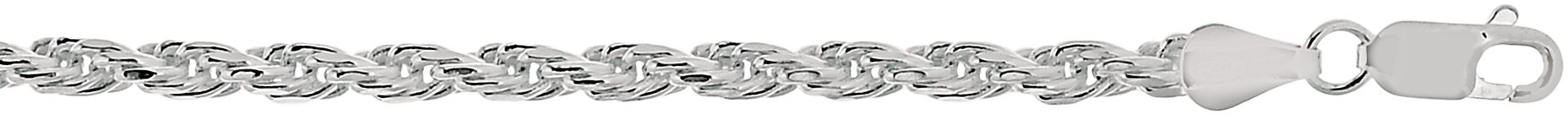 "22"" 3.6mm (1/7"") Textured Diamond Cut 925 Sterling Silver Rope Chain w/ Lobster Clasp - DISCONTINUED"