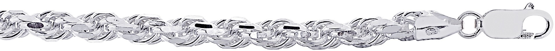 "24"" 5.7mm (2/9"") Textured Diamond Cut 925 Sterling Silver Rope Chain w/ Lobster Clasp"