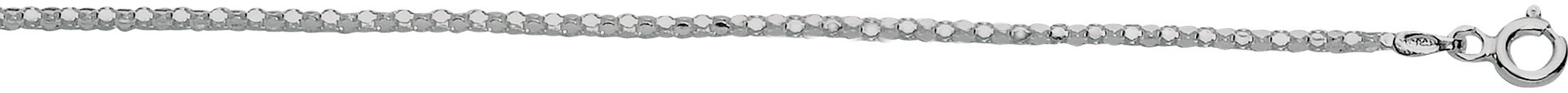 "18"" 1.8mm (0.07"") Rhodium Plated Polished Diamond Cut 925 Sterling Silver Popcorn Chain w/ Lobster Clasp - DISCONTINUED"