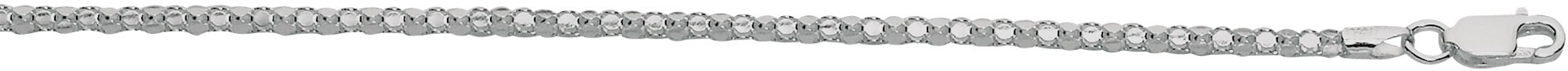 "16"" 2.2mm (0.09"") Rhodium Plated Polished Diamond Cut 925 Sterling Silver Popcorn Chain w/ Lobster Clasp"