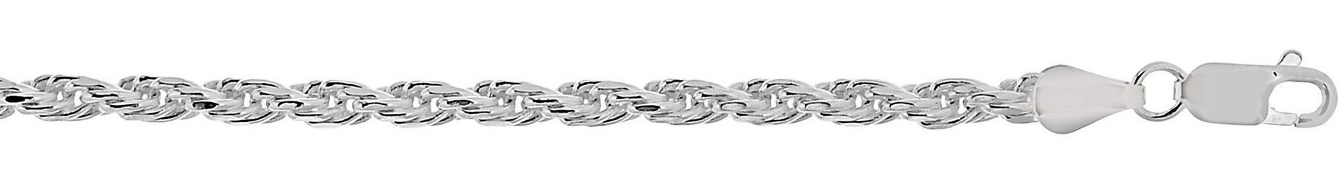 "8.5"" 3.6mm (1/7"") Rhodium Plated Polished Diamond Cut 925 Sterling Silver Rope Chain w/ Lobster Clasp"