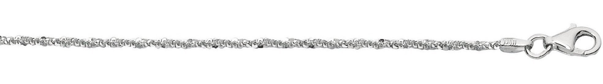 "16"" 1.5mm (0.06"") Rhodium Plated Polished Diamond Cut 925 Sterling Silver Sparkle Chain w/ Pear Shape Clasp"