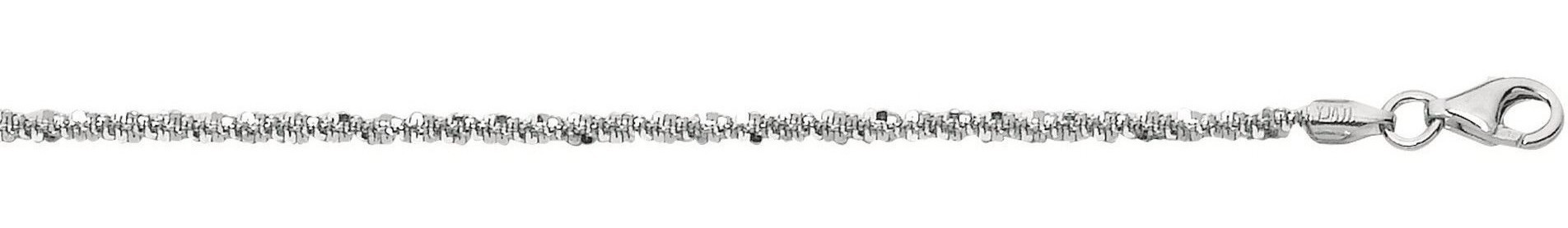 "9"" 2.2mm (0.09"") Rhodium Plated Polished Diamond Cut 925 Sterling Silver Sparkle Chain w/ Pear Shape Clasp"
