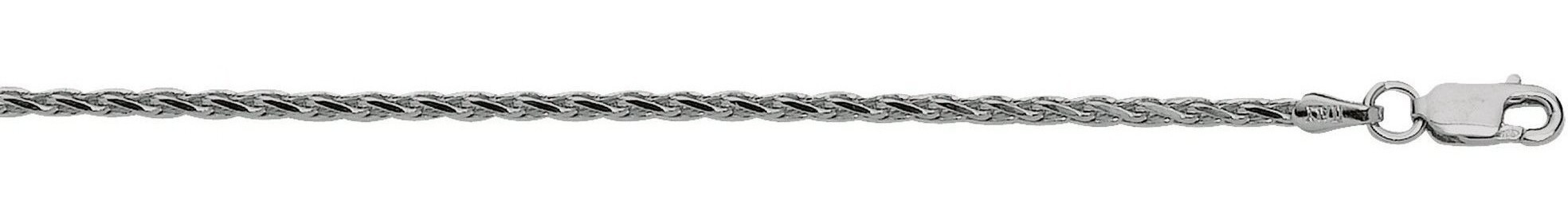 "18"" 2.2mm (0.09"") Rhodium Plated Polished Diamond Cut 925 Sterling Silver Spiga Chain w/ Lobster Clasp"