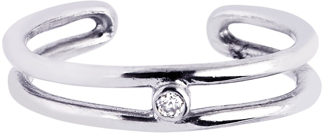 Silver Rhodium Plated Shiny Cuff Type Open 2-row Toe Ring w/ 1-white Cubic Zirconia (CZ)