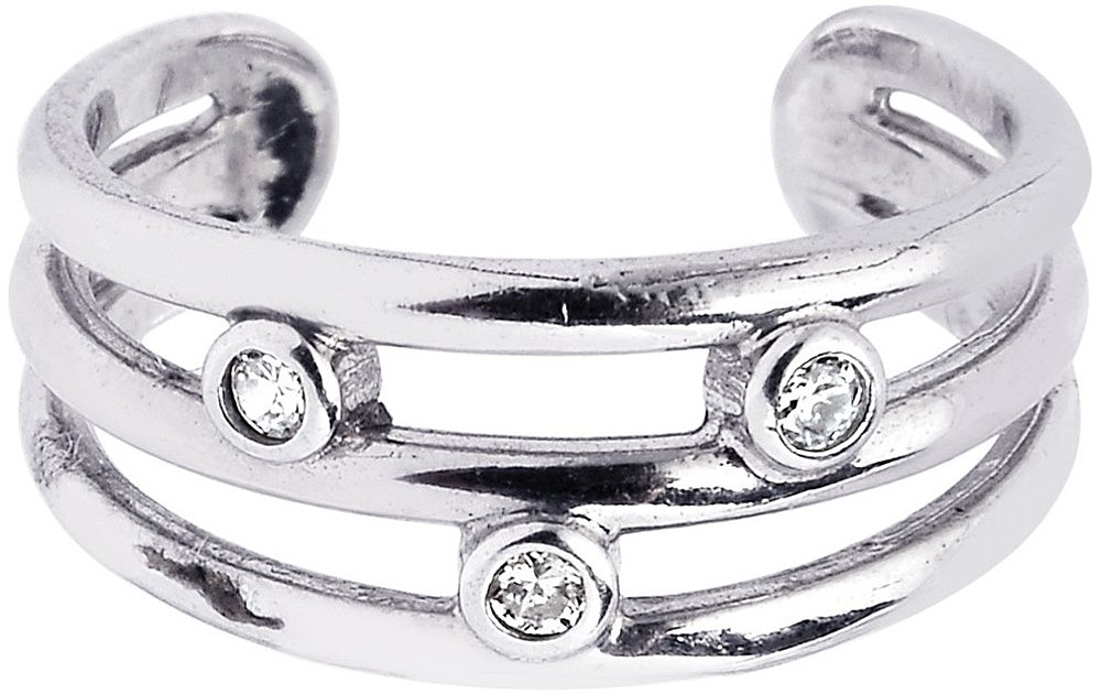 Silver Rhodium Plated Shiny Cuff Type Open 3-row Toe Ring w/ 3-white Cubic Zirconia (CZ)