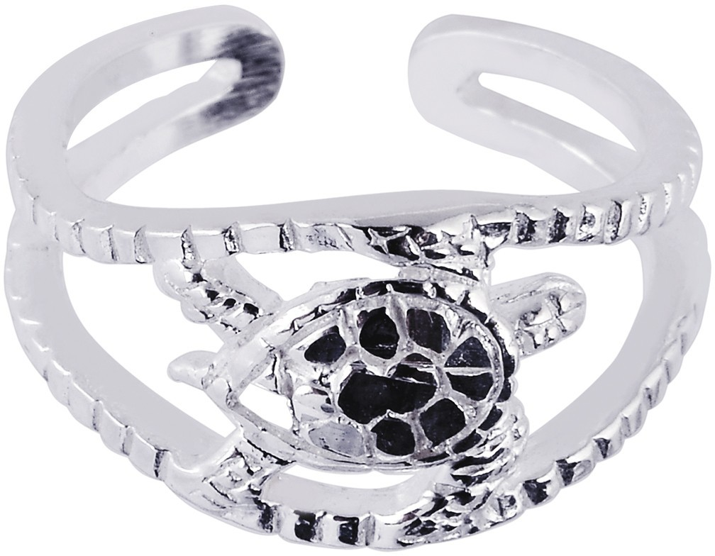 Silver Rhodium Plated Shiny Textured Cuff Type Turtle Top Toe Ring