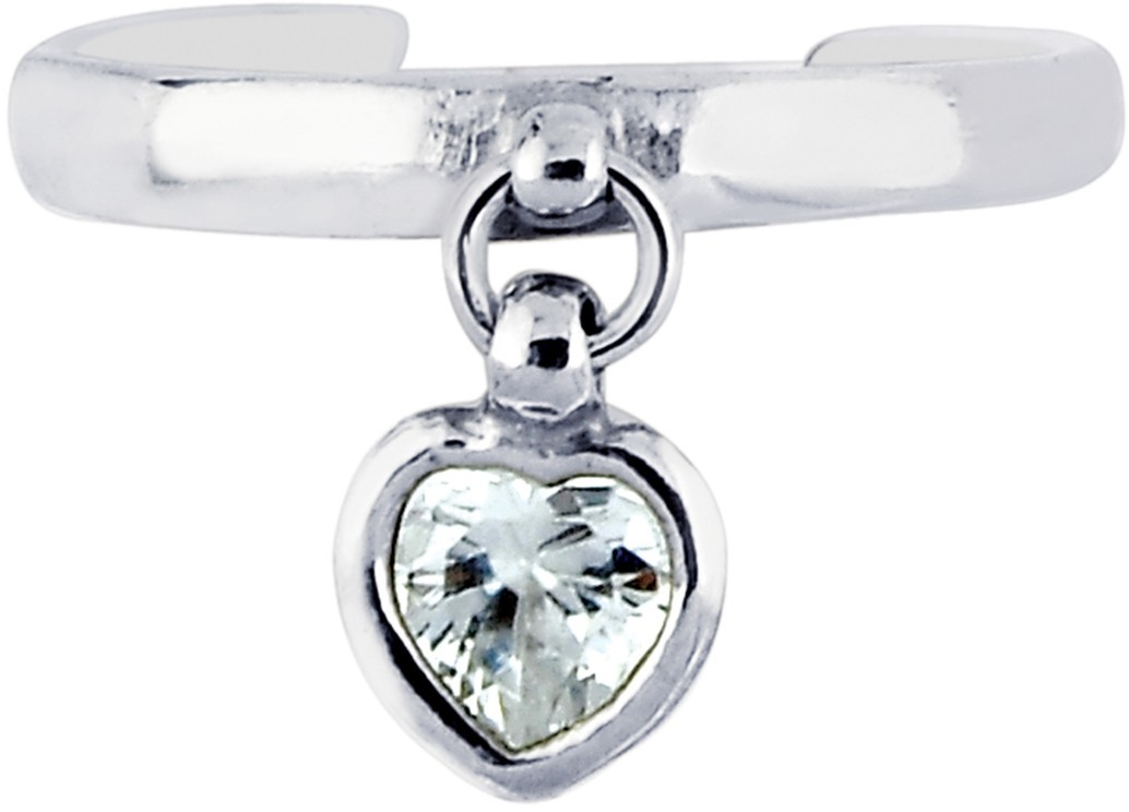 Silver Rhodium Plated Shiny Cuff Type Toe Ring w/ Small Drop Heart w/ White Cubic Zirconia (CZ)