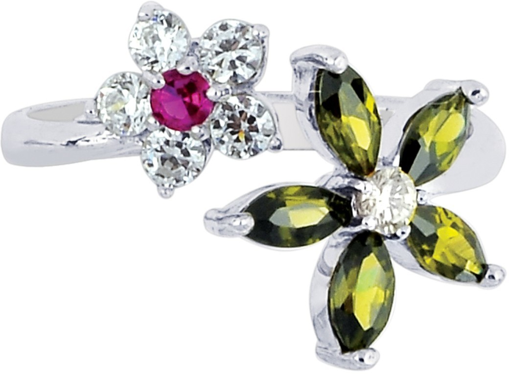 Silver Rhodium Plated Shiny 2-flower Top By Pass Type Toe Ring w/ White & Red & Green Cubic Zirconia (CZ)