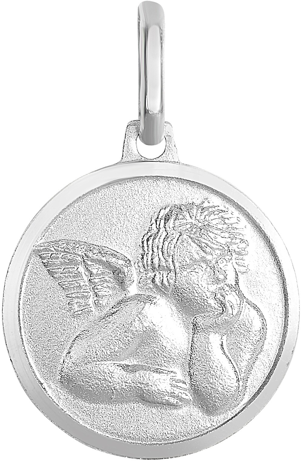 "Silver Rhodium Plated 15mm (5/8"") Shiny Textured Dime Size Angel w/ Wing Pendant"