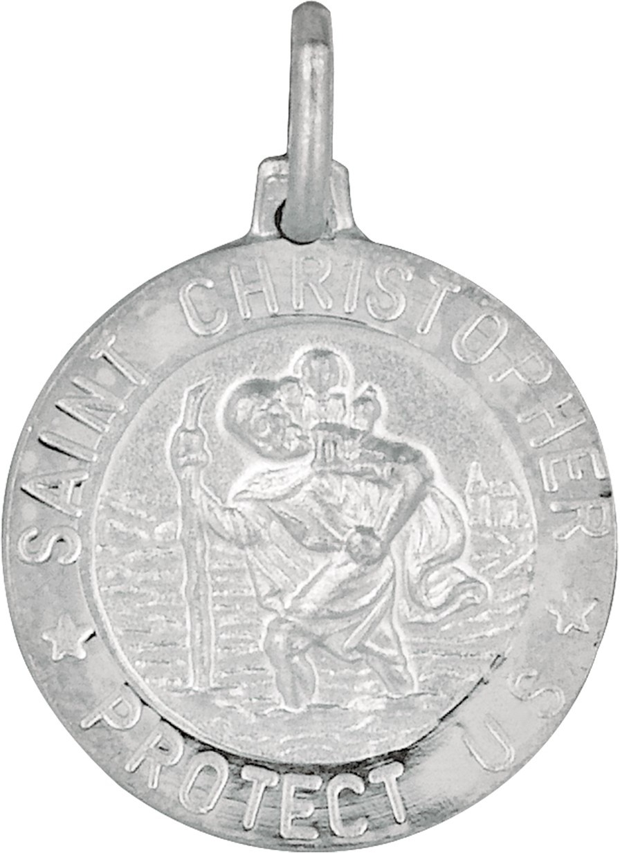 "Silver Rhodium Plated 19mm (3/4"") Shiny Textured Nickle Size Saint Christopher Pendant"