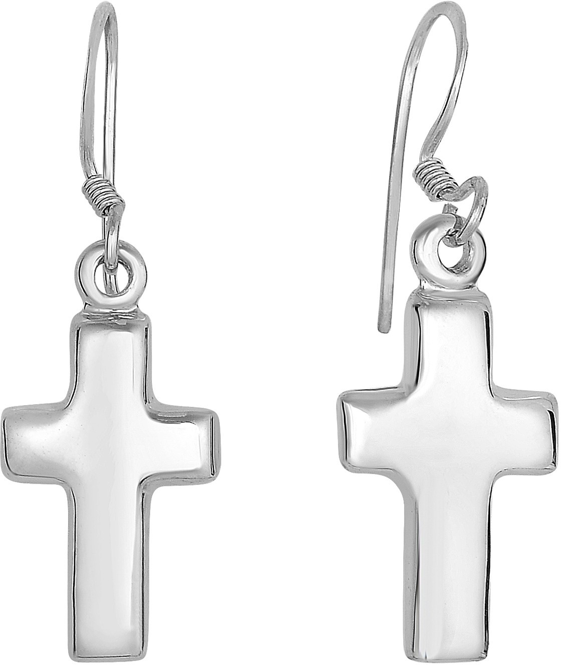 "Silver Rhodium Plated 7x15mm (0.28""x0.59"") Shiny Cross Dangle Earrings"