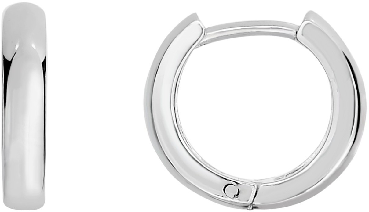 "Silver Rhodium Plated 4.0mm (1/6"") Shiny Textured Round Hoop Huggie Hoop Earrings (BTAGWE630)"