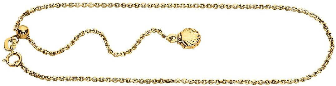 "11"" 14K Yellow Gold Cable Chain Adjustable Anklet w/ Spring Ring Clasp & Shell Charm"