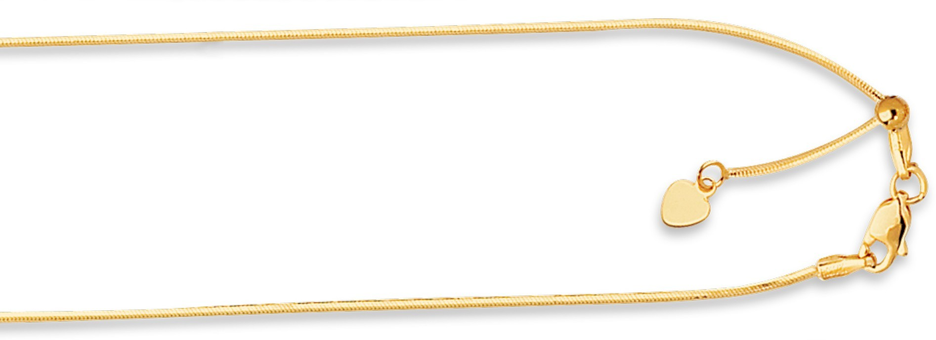 "22"" 14K Yellow Gold .85mm (0.03"") Polished Diamond Cut Adjustable Octagonal Chain w/ Lobster Clasp"