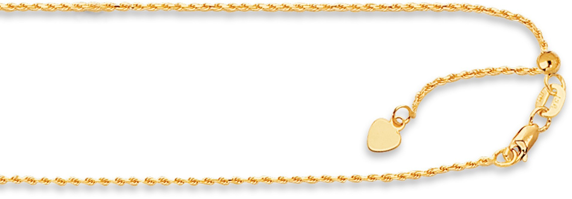 "22"" 14K Yellow Gold 1.1mm (0.04"") Polished Diamond Cut Adjustable Royal Rope Chain w/ Lobster Clasp"